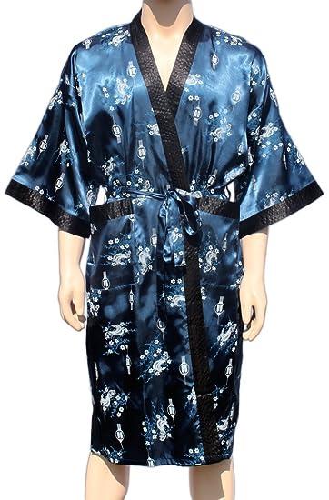 Navy-Blau Kimono mit asiatischen Muster Morgenmantel Bademantel ...