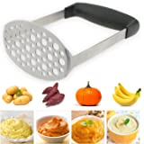 TedGem Kartoffelstampfer Edelstahl Kartoffel Stampfer,Kartoffelpresse für cremiges Kartoffelpüree, Kartoffelbrei, Gemüse und Früchte