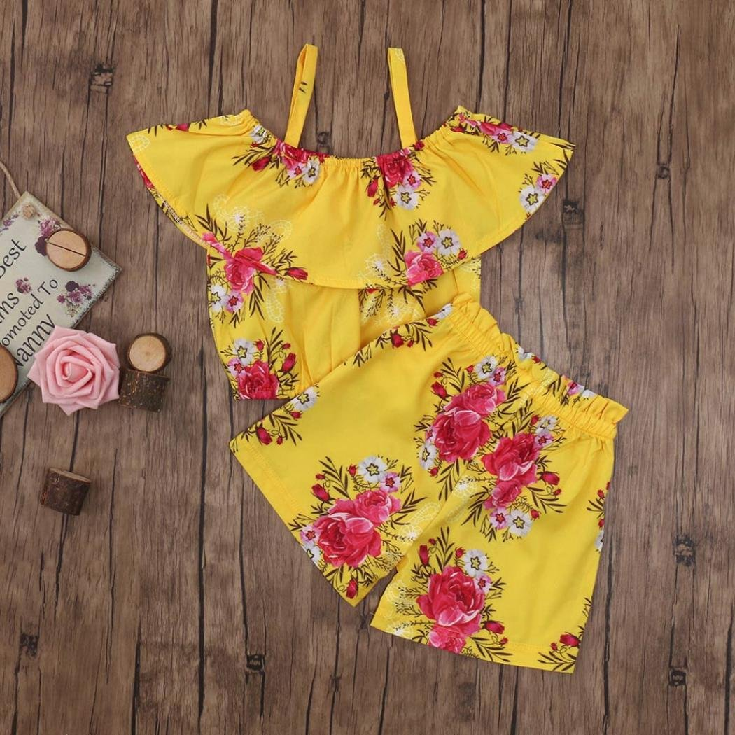 Kehen Infant Baby Toddler Gitl Summer Clothes Casual Outfit Strap Off Shoudler Flower Print Top Shorts 2pcs Suit