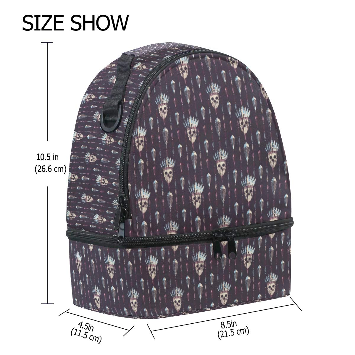 f8e6d2cbffe1 Amazon.com - HEOEH Indain Hat Skull Purple Lunch Bag Insulated Lunch ...