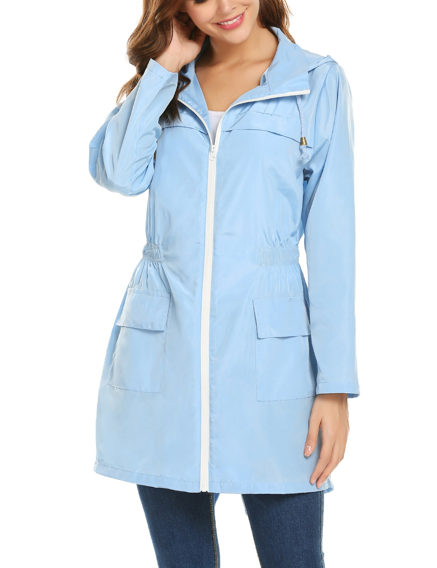 ZHENWEI Womens' Waterproof Lightweight Raincoat Hooded Outdoor Hiking Long Rain Jacket (XL, Light Blue)