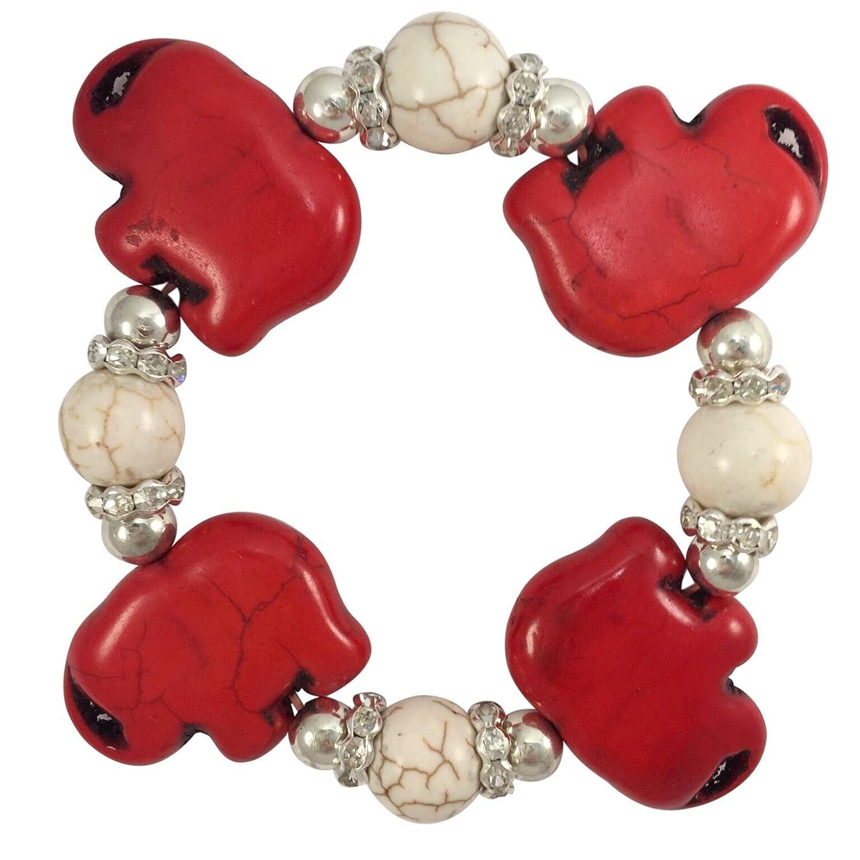 Red Elephant Rhinestone Beige Stone Beaded Stretch Bracelet