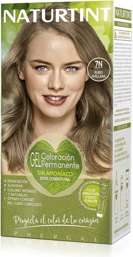 Naturtint   Coloración sin amoniaco   100% cobertura de canas   Ingredientes vegetales   Color natural y duradero   7N Rubio Avellana   170ml