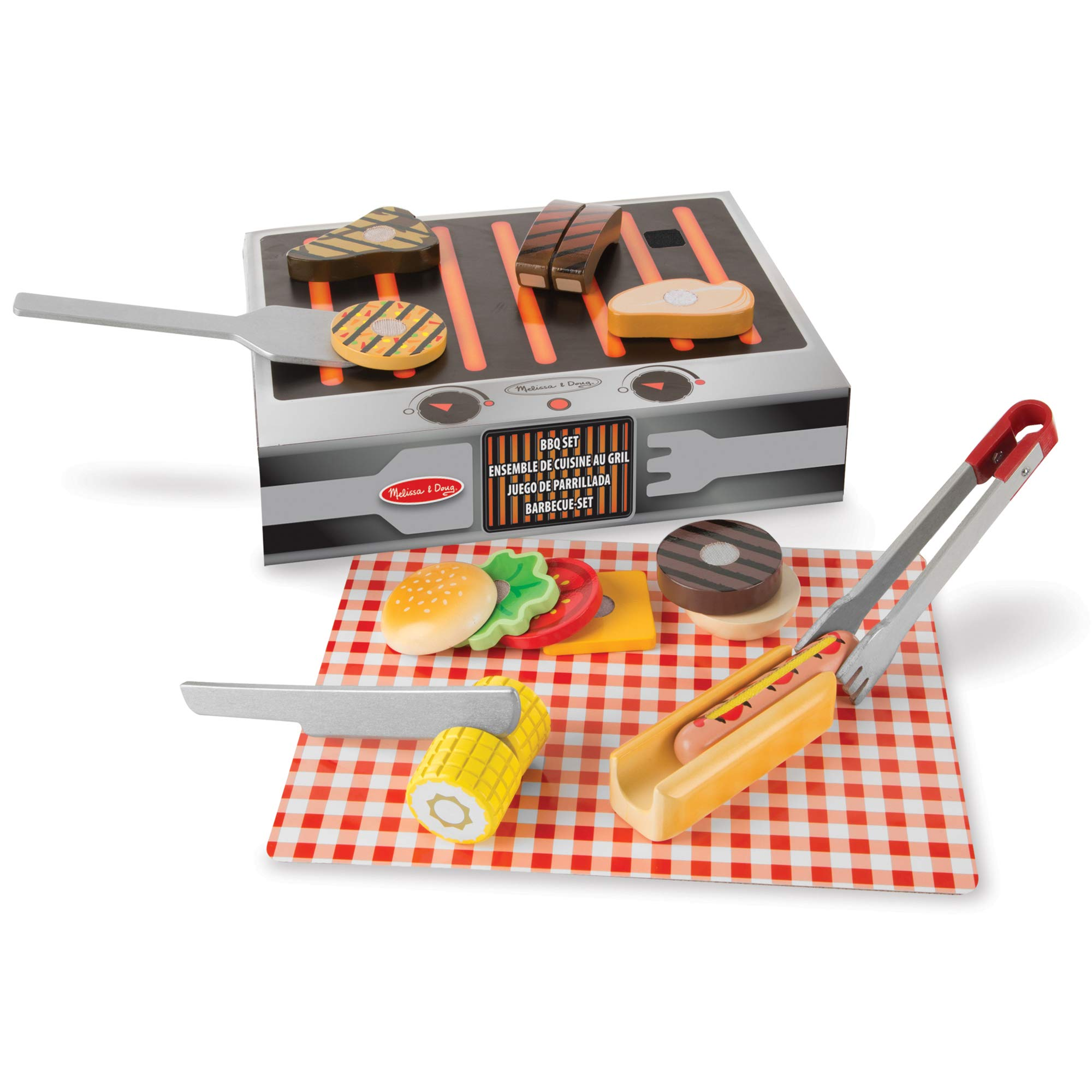 Melissa & Doug Wooden Grill & Serve BBQ Set (Wooden Play Food, 20 Pieces, Great Gift for Girls and Boys - Best for 2, 3, 4, 5 and 6 Year Olds) by Melissa & Doug