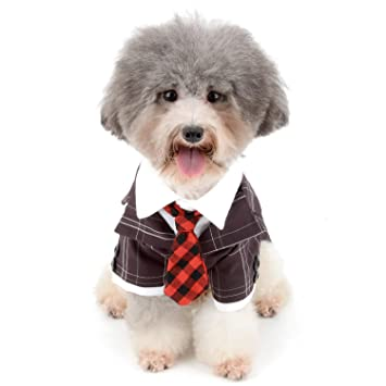 f6d479460517a Zunea ペット服 犬服 犬用タキシード 紳士 スーツ ネクタイが付き 燕尾服 チェック柄