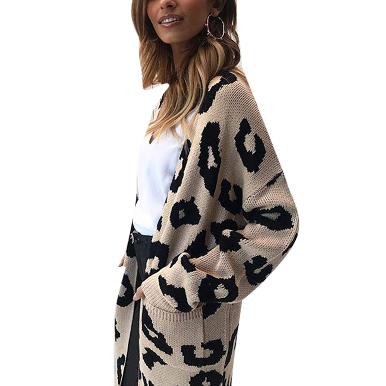 Jolisson Womens Leopard Print Cardigan Jumper Waterfall Long Tops Coat Open Front Outwear Knit Tunic