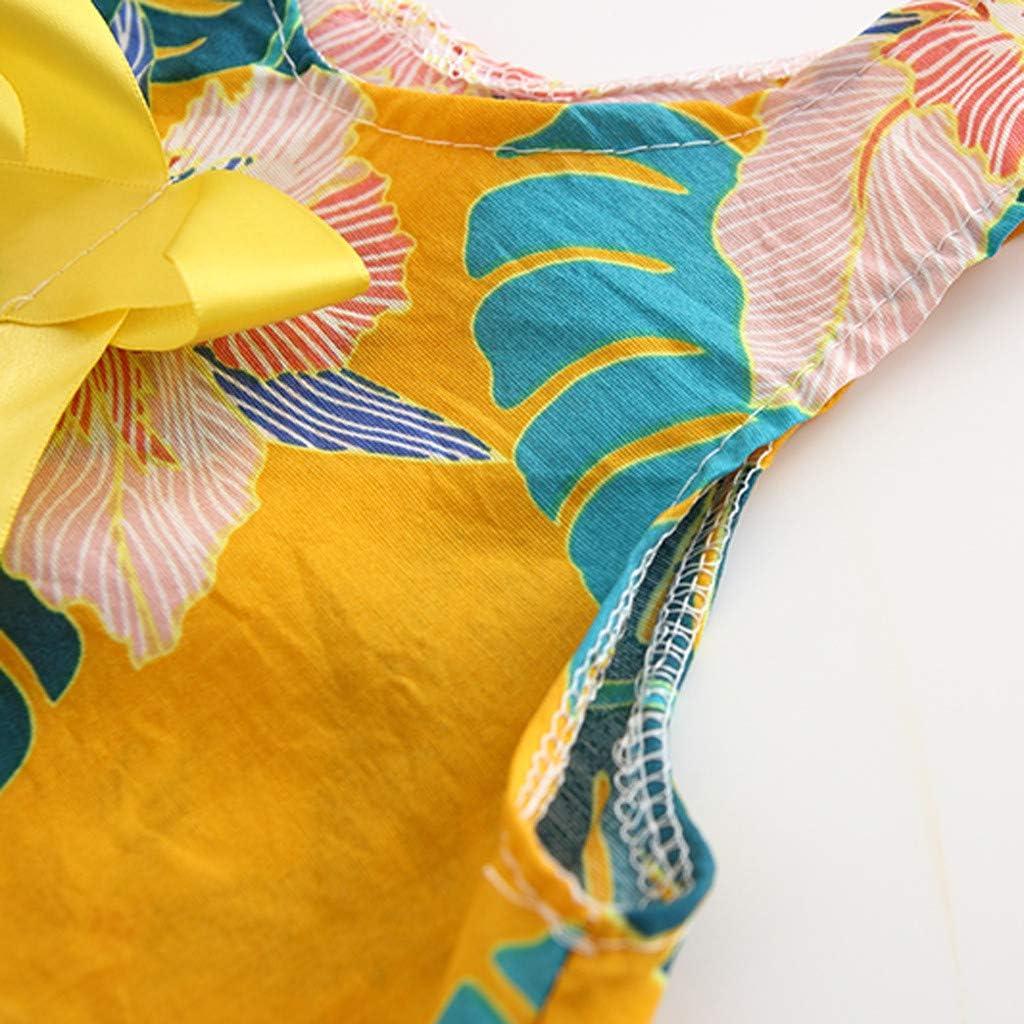 Ucoolcc Baby M/ädchen Ohne Arm Kleider Schleife Blumen Bl/ätter Muster Design Fr/ühling Sommer Kleidung Party Kids Tr/ägerklei Freizeitkleid