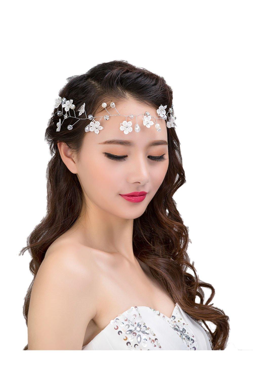 Elisona-Women Ladies Bridal Bridesmaid Wedding Party Decorative Pearl Rhinestone Lace Flower Style Hair Band Headband Headwear Hair Accessories