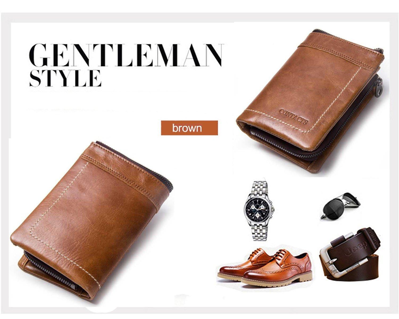 793c7b95e8 Modesty-Portafoglio uomo vera pelle di vacchetta con carta di credito  titolare Zip borsa regalo ingrandisci