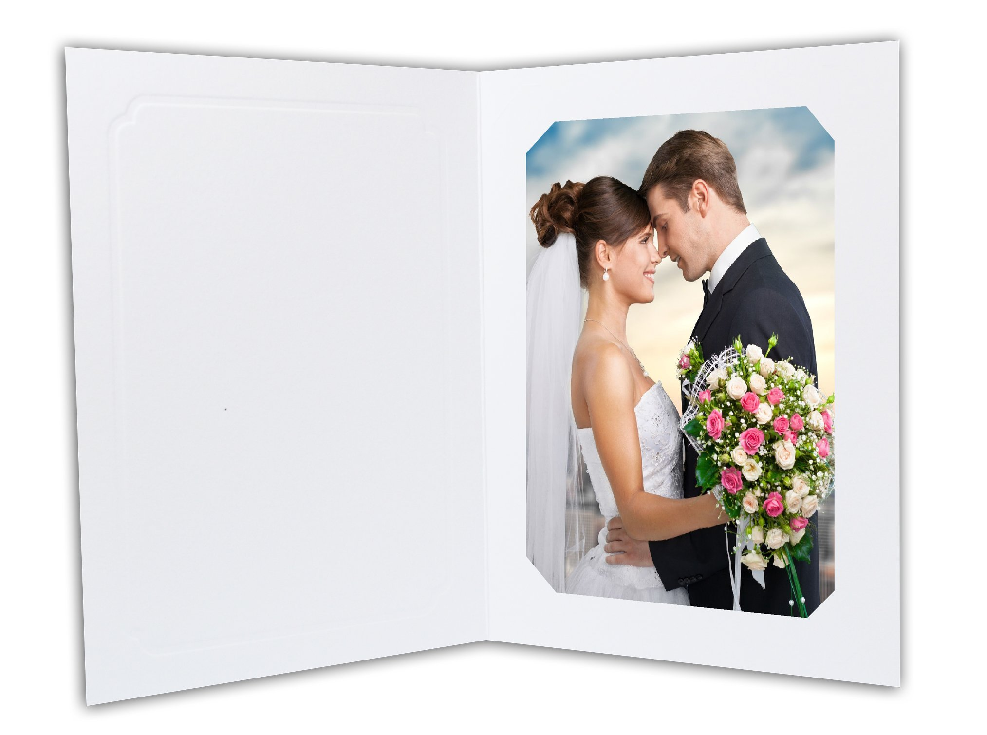 Golden State Art, Cardboard Photo Folder for 5x7/4x6 (Pack of 50) Cut corners GS010-S White Color