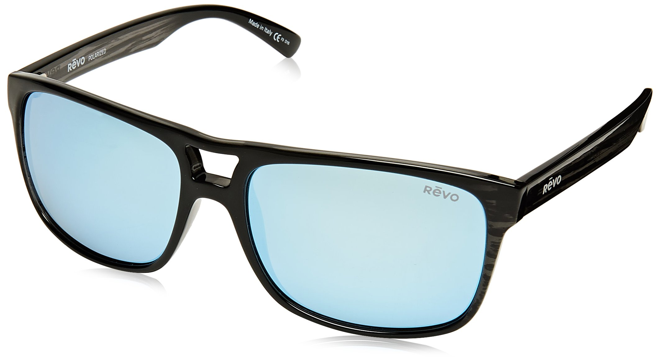 Revo Holsby Style and Performance Polarized Sunglasses, RE1019, Black Woodgrain, 58 mm