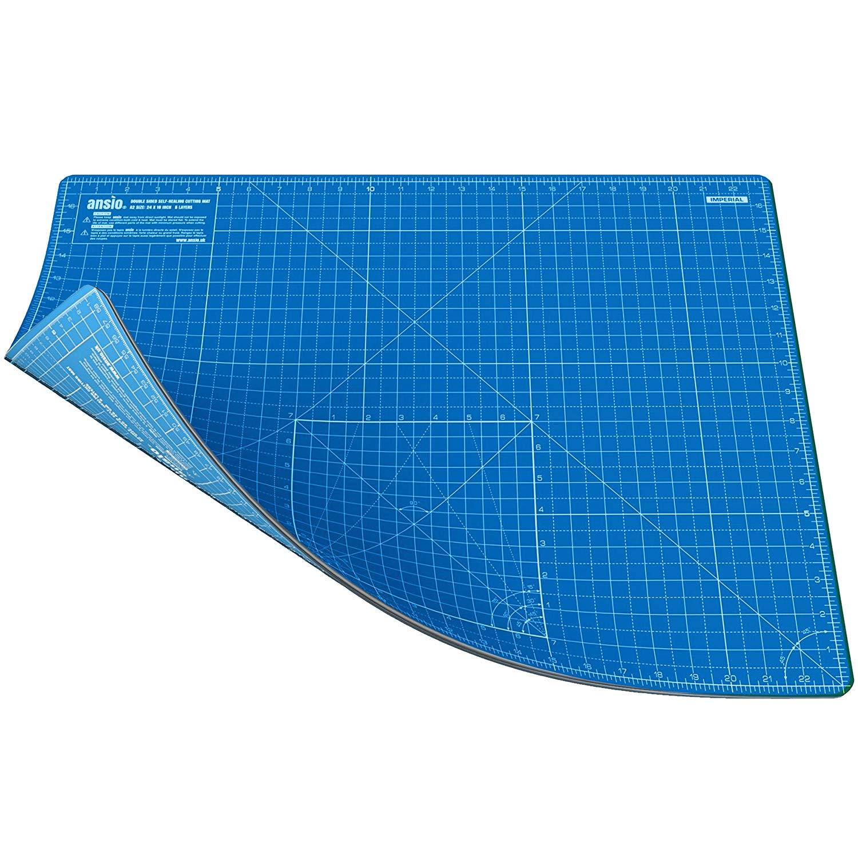ANSIO A2 autoguarigione a doppio lato 5 strati di taglio Mat imperiale/metrico da 17 pollici x 22.5 pollici/44 cm x 59 cm – blu