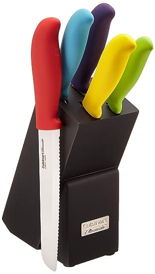 Cuisinart C59CE C6P 6 Piece Ceramic Cutlery Knife Block Set, Multicolored