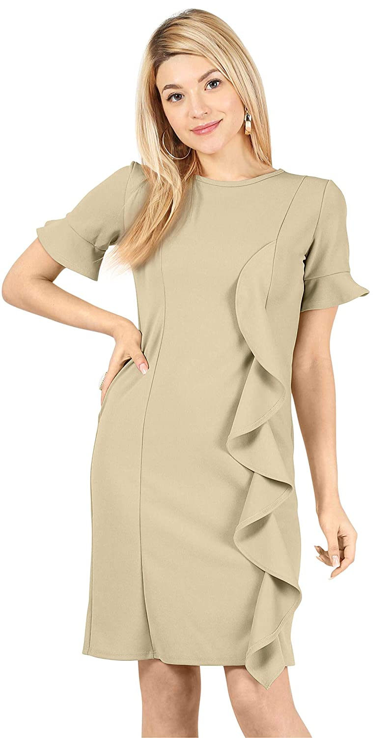 d4859e3d7c4 Amazon.com  Womens Reg and Plus Size Cocktail Dress Long and Short Sleeve  Sheath Pencil Dress with Side Ruffle - Made in USA  Clothing
