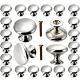 Cabinet Knobs 30 Pack, POZEAN Brushed Nickel Cabinet Knobs Silver with Screws for Dresser Drawer Cabinet Cupboard…