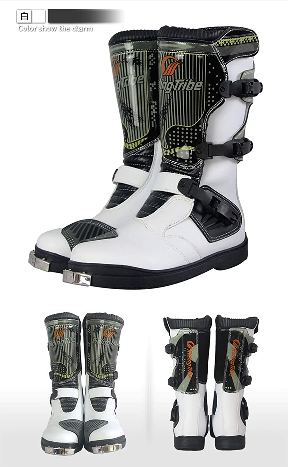ZZKK Waterproof Leather Motorcycle Boots Professional Motorcross Racing Boots,Off-Road Motorcycle Boots,Locomotive long boots