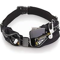 Sora Cangurera ultra ligera Premium/ Cinturón Deportivo Negro con 2 Bolsas Cinturón para hacer ejercicio perfecto para Correr Ciclismo CrossFit compatible con iPhone 6/ 7/ 8/ X o cualquier otro celular!
