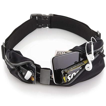deec460aa Sora Cangurera ultra ligera Premium/ Cinturón Deportivo Negro con 2 Bolsas  Cinturón para hacer ejercicio