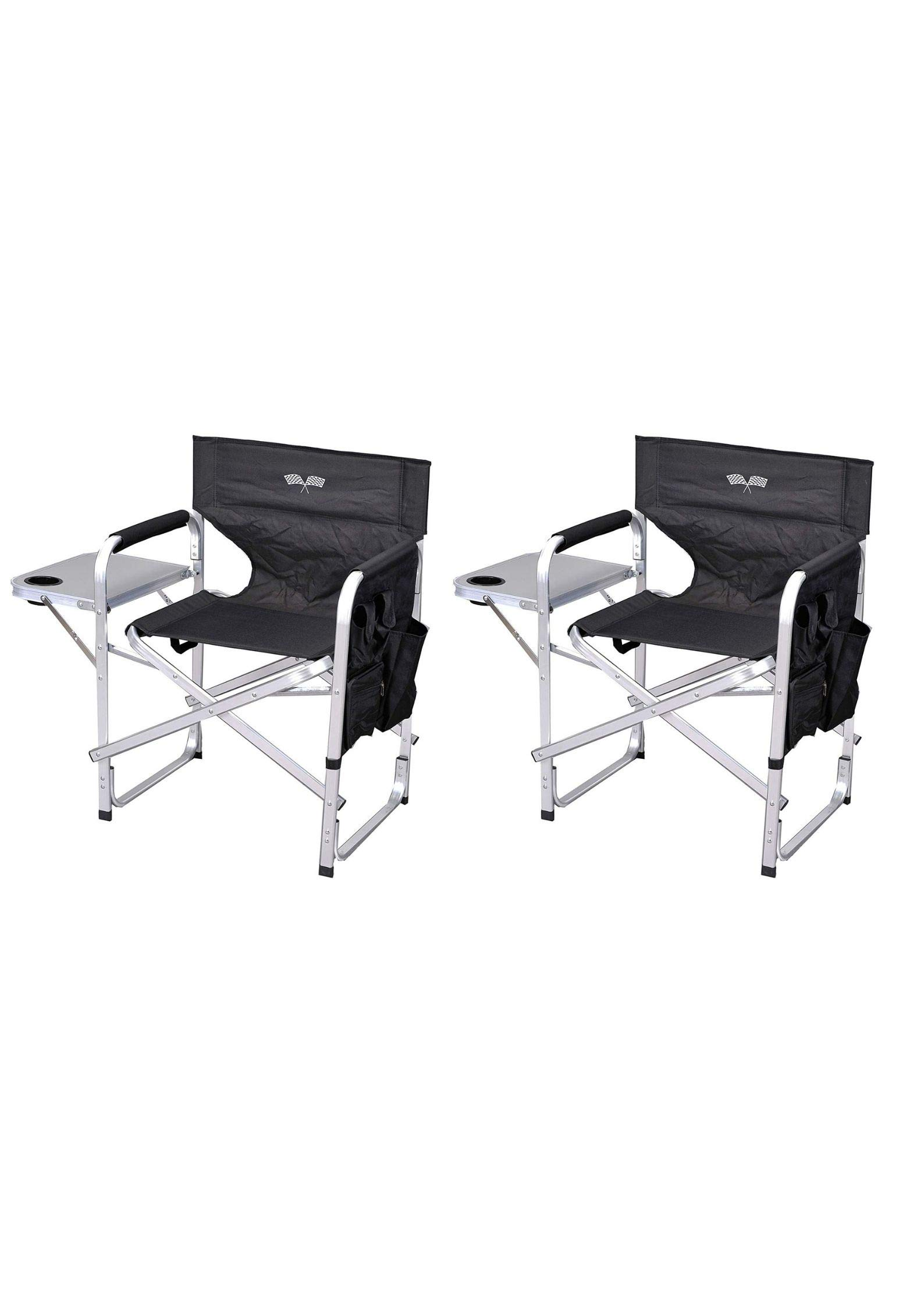 Stylish Camping Outdoor Folding Director's Chair w/Full Back - (Black/Flag/Pack of 2)