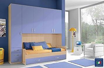 Cameretta Armadio ponte 1 colonna con divano letto: Amazon.it ...