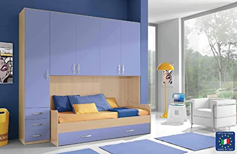 Cameretta armadio ponte 1 colonna con divano letto: amazon.it: casa