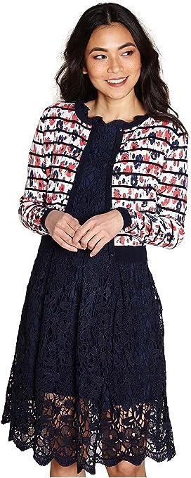 Yumi Botanical Striped Pattern Cardigan