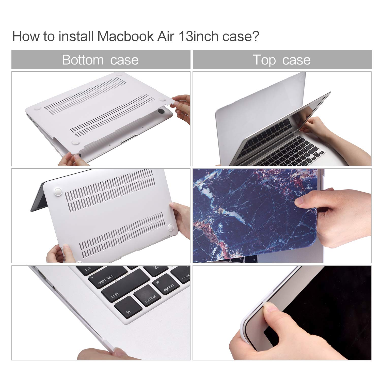 MacBook Air 13.3 Inch Case, TeenGrow Plastic Hard Protective Smooth MacBook Shell Case Keyboard Cover MacBook Air (Model:A1369 A1466), Purple Crack Marble