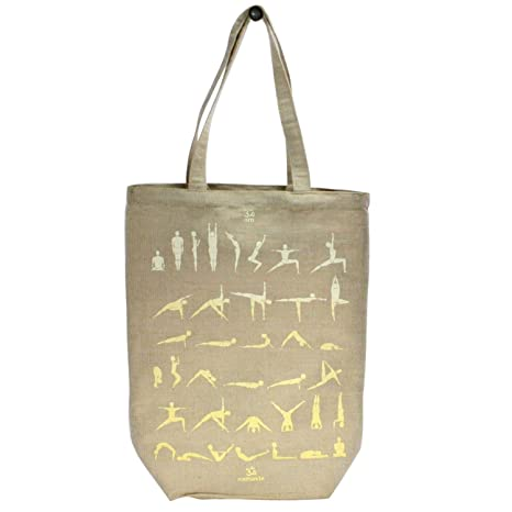 Amazon.com: Yoga Pose Natural Tote Bag Set 2 | Gym Jute ...