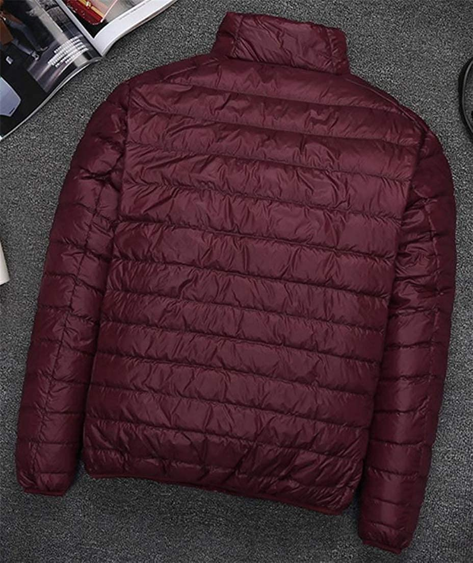 Cromoncent Men Classic Stand Collar Quilting Fall Winter Puffer Packable Outside Down Coat