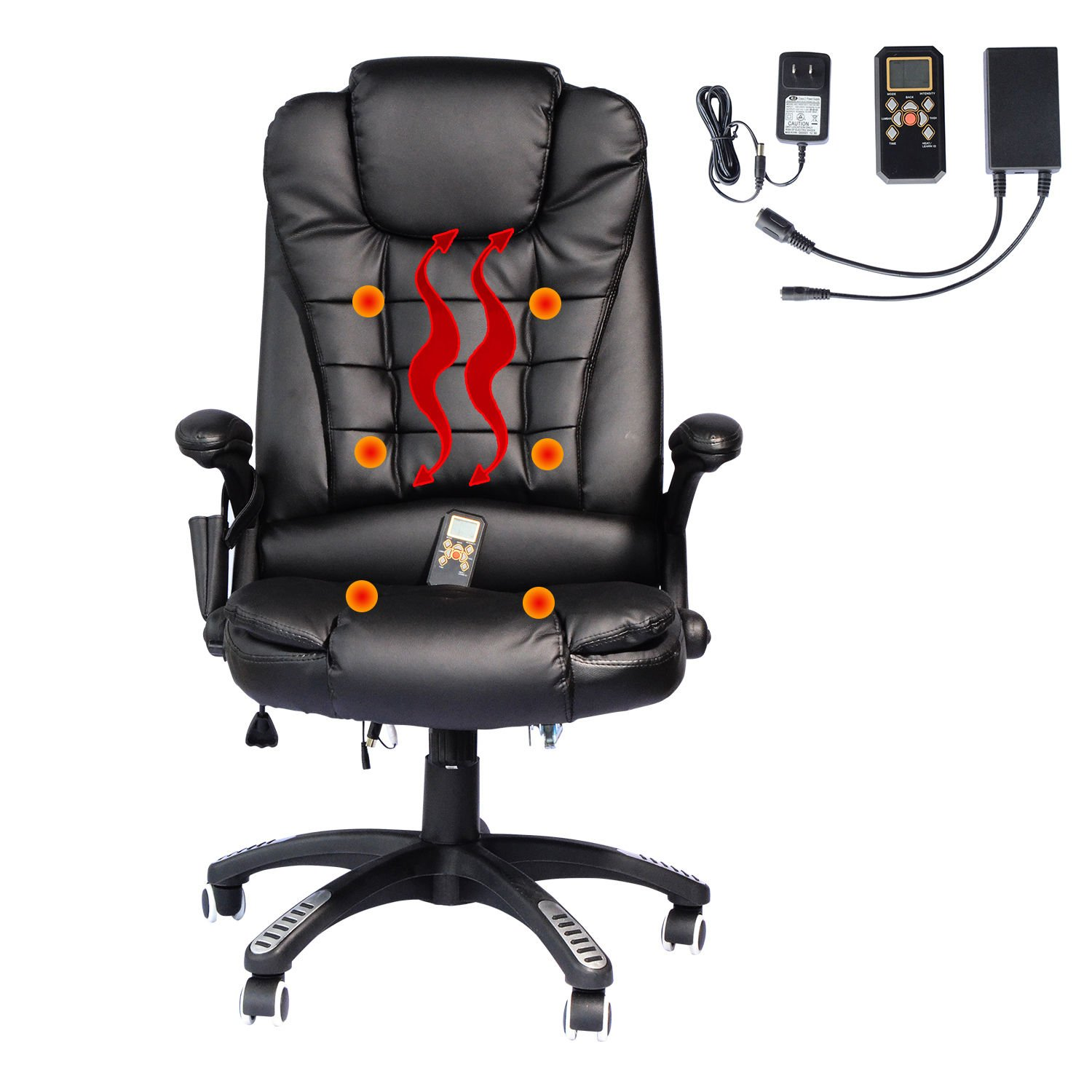 Amazon Hom Executive Ergonomic PU Leather Heated Vibrating