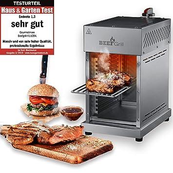 GOURMETmaxx - Parrilla de Gas para temperaturas de hasta 800 °C, Parrilla de Alto Rendimiento para filetes como el Profesional, Quemador de Gas y ...