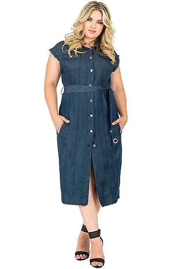 d26894d5b615 Standards   Practices Plus Size Womens Sleeveless Frayed Hem Duster Jacket  Dress Size 2X Blue