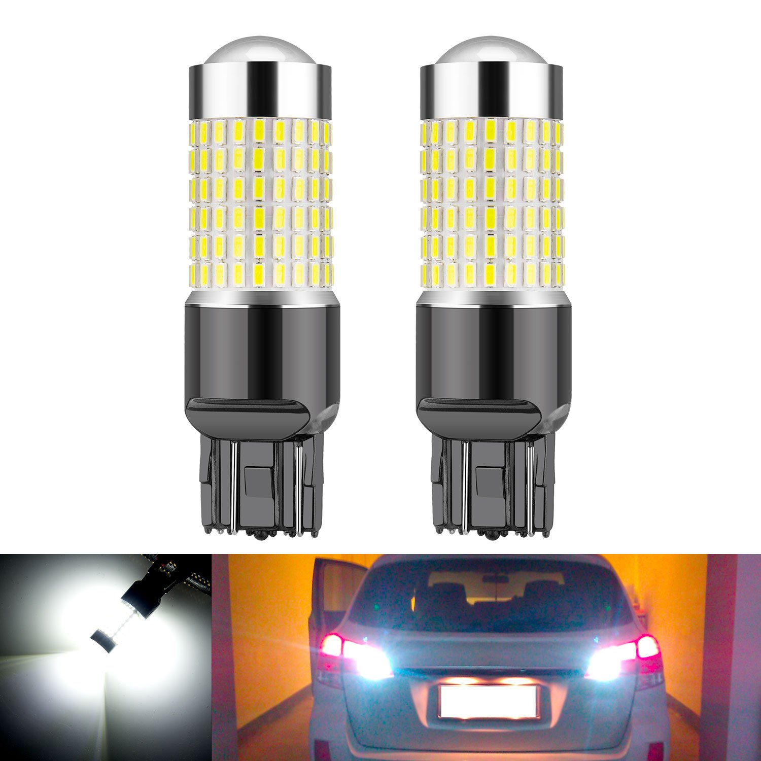 Rayhoo 1200 Lumens Super Bright 7440 7441 7443 7444 992 LED Bulbs ,Xenon White, Only for Back Up Reverse Lights (1200lumens)