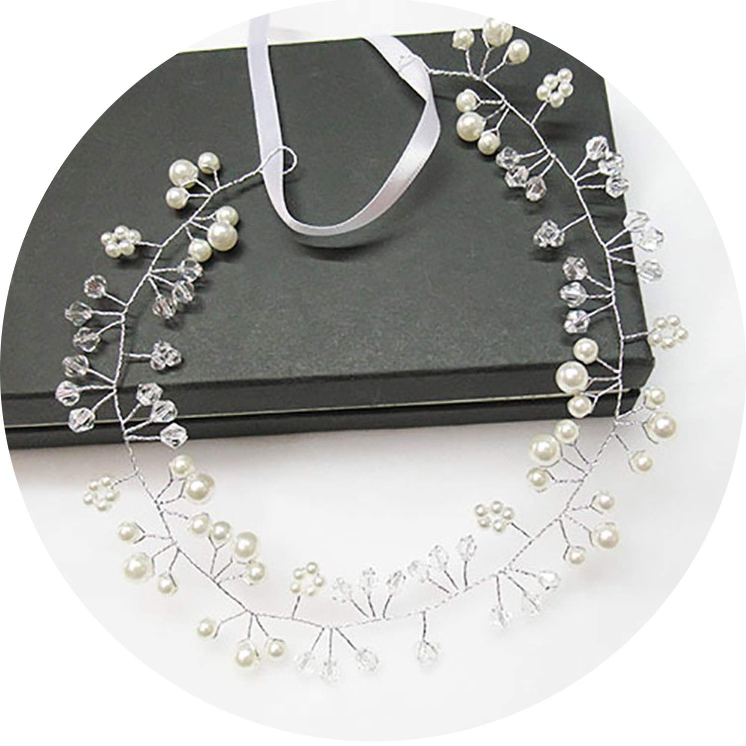 Wedding Headdress Simulated Pearl Hair Accessories for Bride Crystal Crown Hairpin 6C0193,A19 60cm