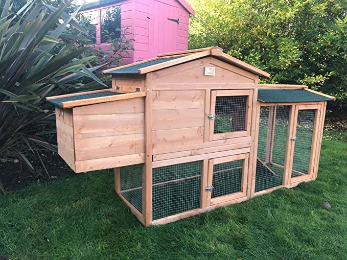 SoulItem Gallinero grande, 150 cm Gallinero Conejo Jaula Gallina Casa de madera Animal Patio trasero al aire libre (150cm L x 55cm W x 85cm H)