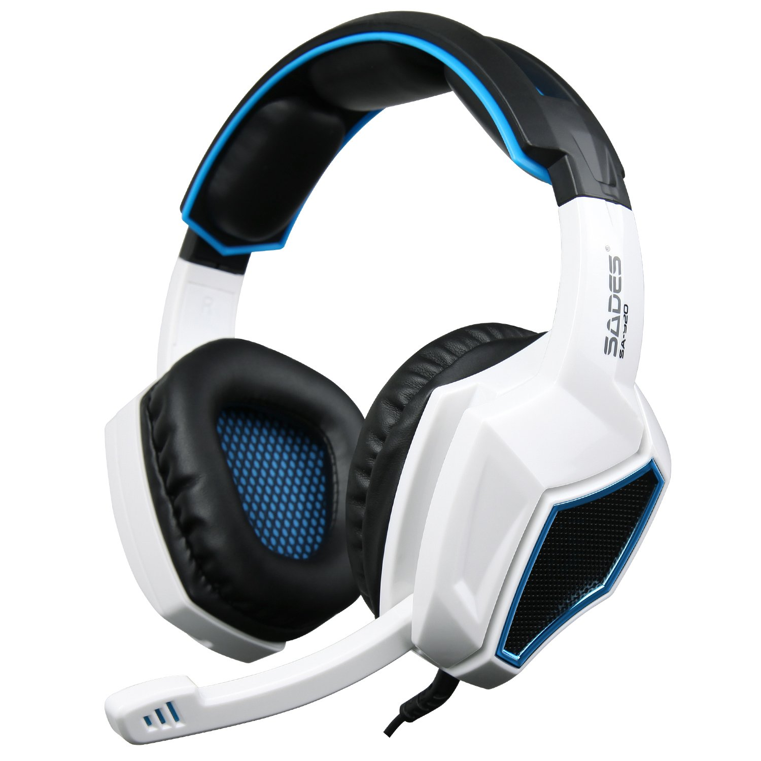 [2016 New Updated]Sades SA920 Wired Stereo Gaming Headset Over Ear Headphones with Microphone for Xbox One / Xbox 360 / PS4 / PC /Cell phones / iPad(Black/White)