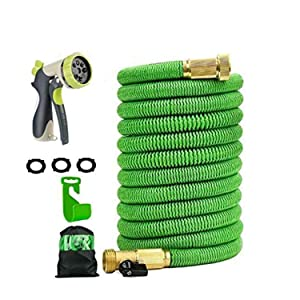 "100ft Expandable Garden Hose with Double Latex Core Flexible Water Hose with 3/4"" Solid Brass Fittings and Extra Strength Fabric 48spindle3750D, include Flexible Spray 8 Mode Zinc Alloy Spray Nozzle"