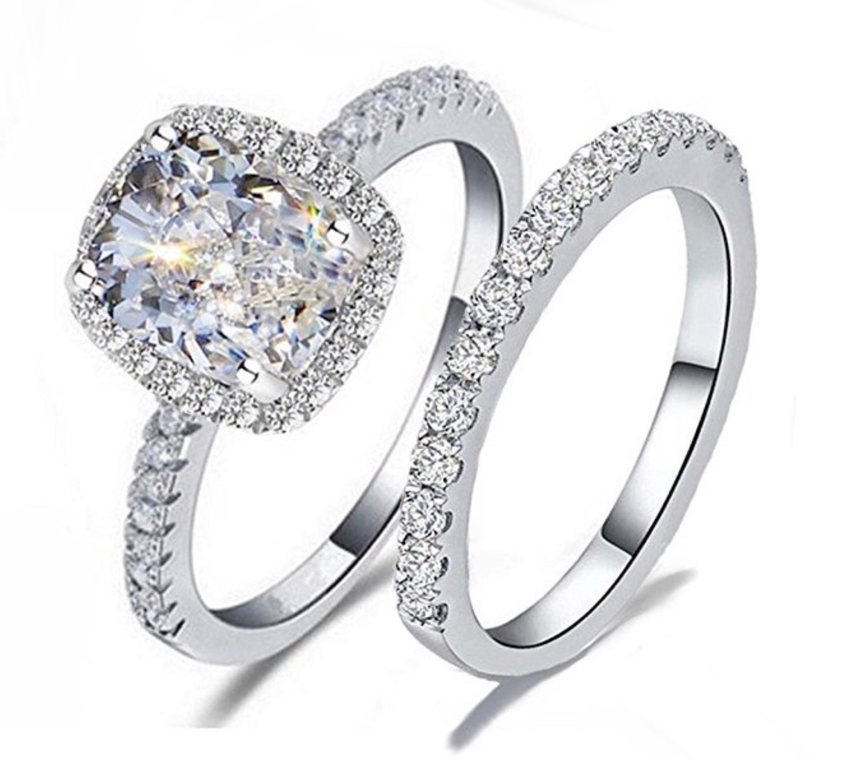 TOP GRADE 2 CARAT RADIANT EMERALD CUSHION CUT SONA NSCD SIMULATED DIAMOND RING BAND SET SOLID 925 SILVER (8)