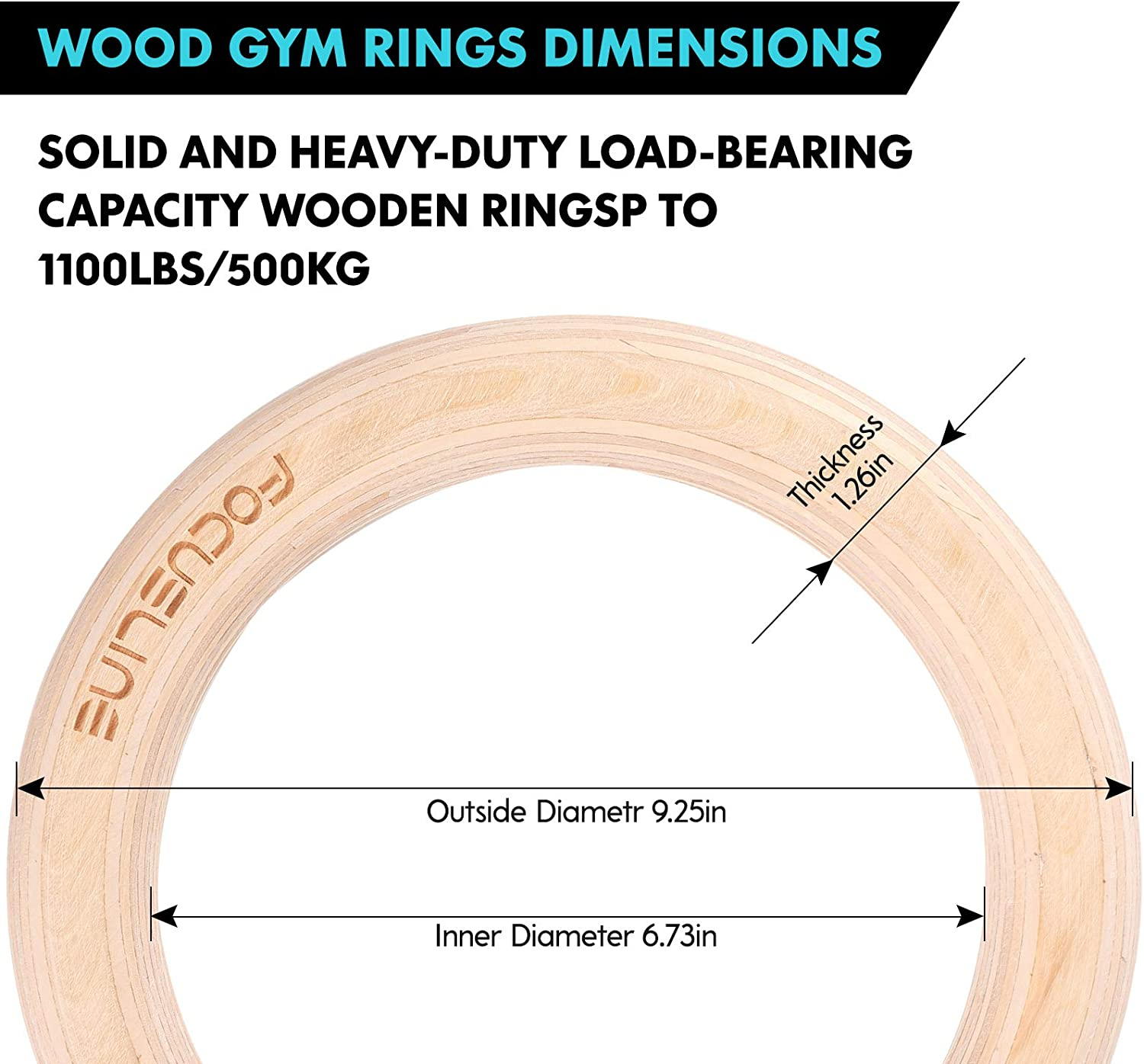 Focus Line Wood Gymnastics Rings 1100lbs 15ft Adjustable Straps Fitness Rings Gym Exercise Rings Non-Slip Training Rings for Home Gym Full Body Workout