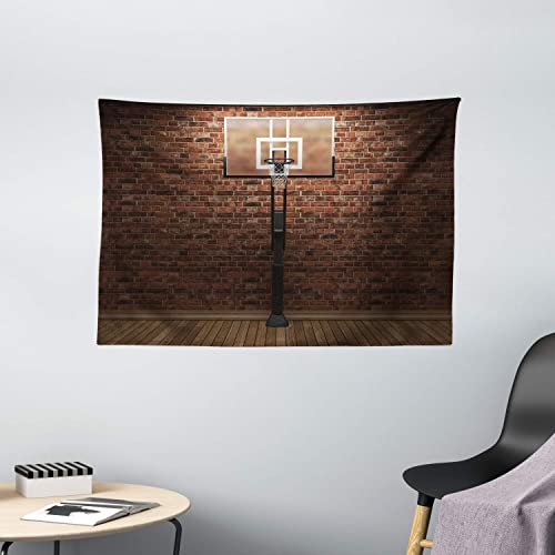 Ambesonne Basketball Tapestry, Old Brick Wall and Basketball Hoop Rim Indoor Training Exercising Stadium Picture, Wide Wall Hanging for Bedroom Living Room Dorm, 60 X 40 , Brown Scarlet
