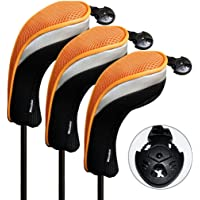 Andux 3pcs/Set Golf Hybrid Club Head Covers with Interchangeable No. Tag Pack of 3
