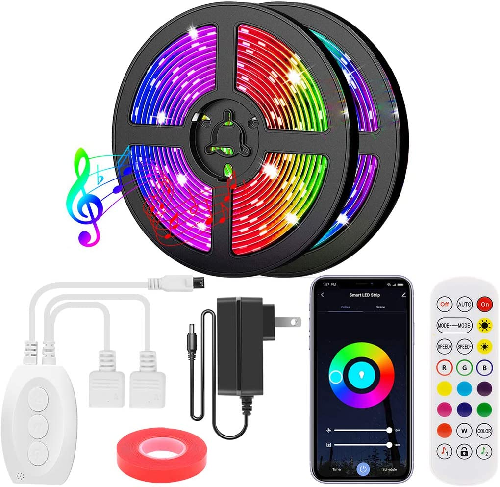 KAMS RGB LED Strip Lights 40FT, 5050 LED Tape Lights Bluetooth App Controlled Color Changing Music Sync Lights with IR Remote & 12V ETL Adapter for Home Bedroom Kitchen TV Party DIY Decoration
