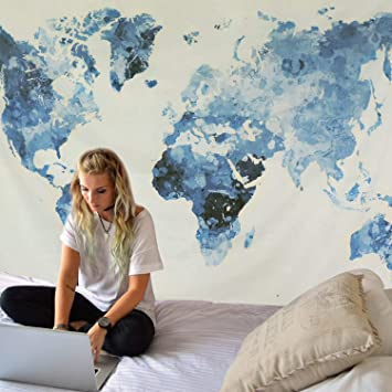 Dremisland Tapiz de Pared Vendimia Tapiz Mapa del Mundo Tapiz Mandala Hippie Azul Blanco Mural Tela Decoración del Hogar Estera de Yoga (Mapa del Mundo Azul, L / 148 X 200 cm):