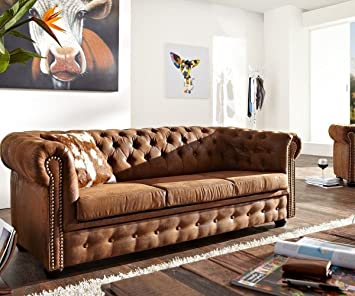 DELIFE 3-Sitzer Chesterfield Braun 200x92 cm Antik Optik Sofa ...