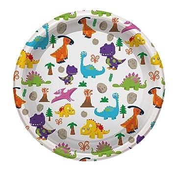 Platos de Plástico con diseño de Dinosaurios ideal para fiestas infantiles o cumpleaños - 23 cm - 4 unidades