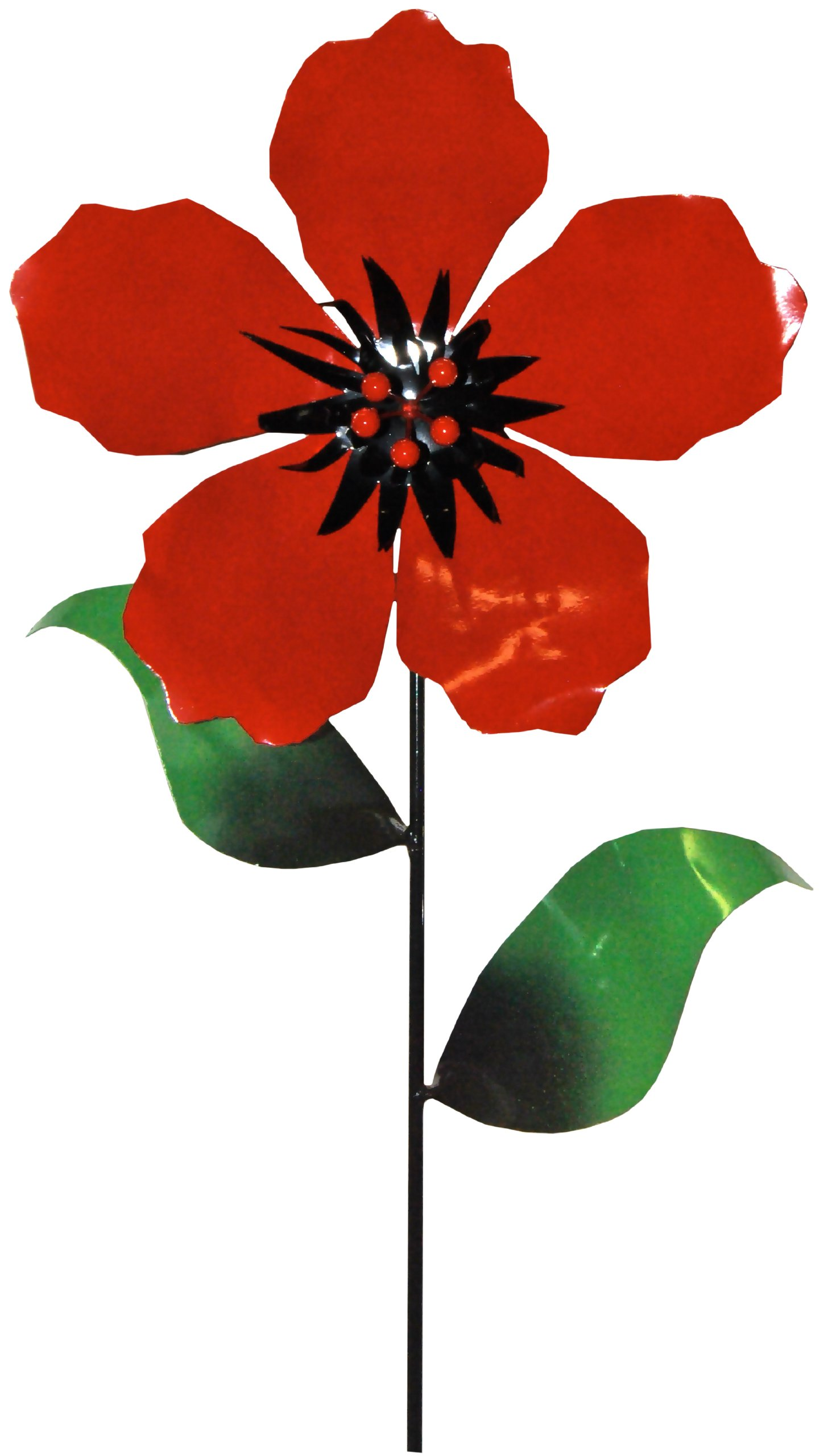 Steven Cooper Metalsmith AFLWR-19-L Artificial Garden Flower on Footed Stake, 5-Feet, Red