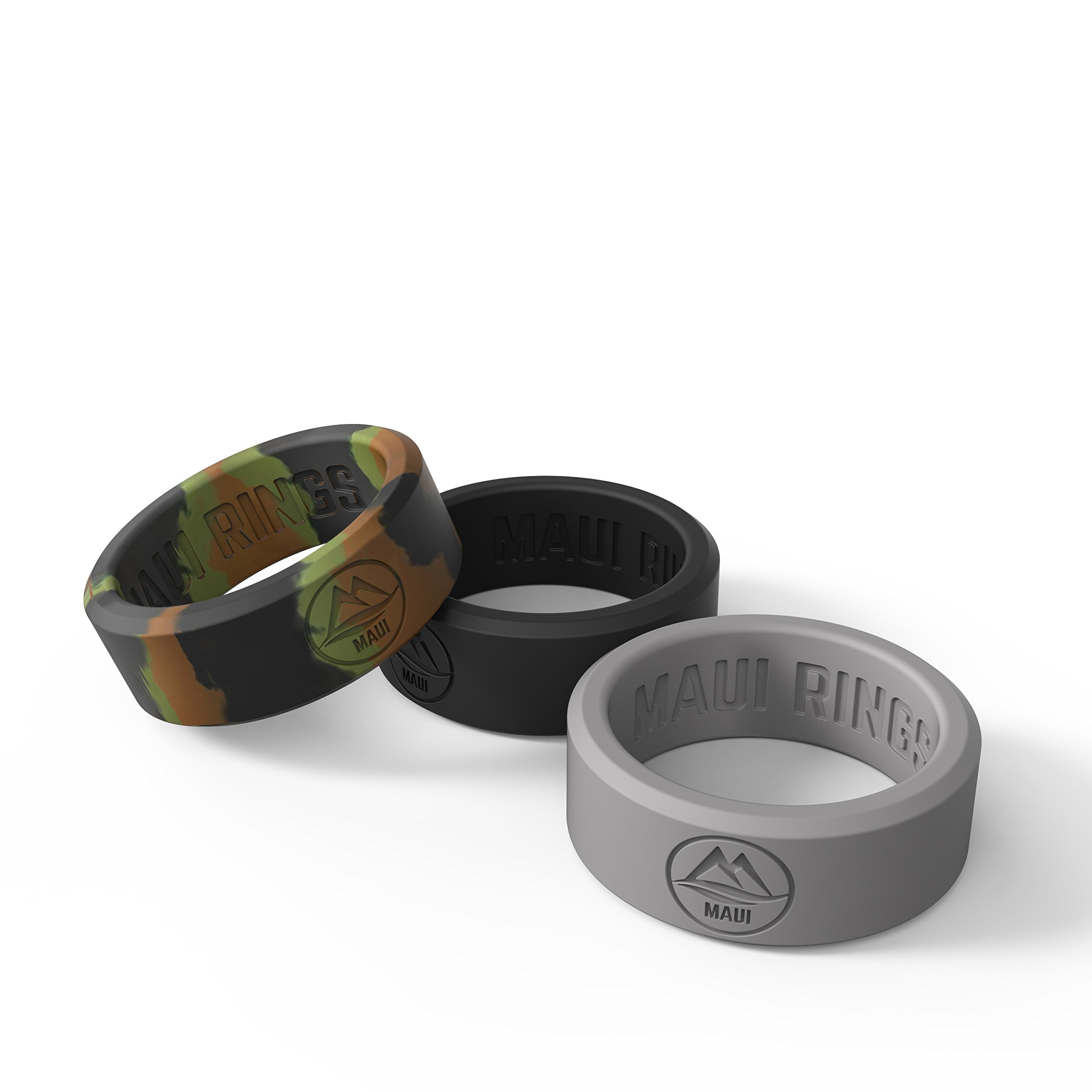 MAUI RINGS BEST Silicone Wedding Ring by SOLID STYLE Engagement Rings Silicone Band for Men Wedding Rubber Bands Mens Ring Men Wedding Band SAFE ring Sport Gym (Camo/Black/Gray, 10)
