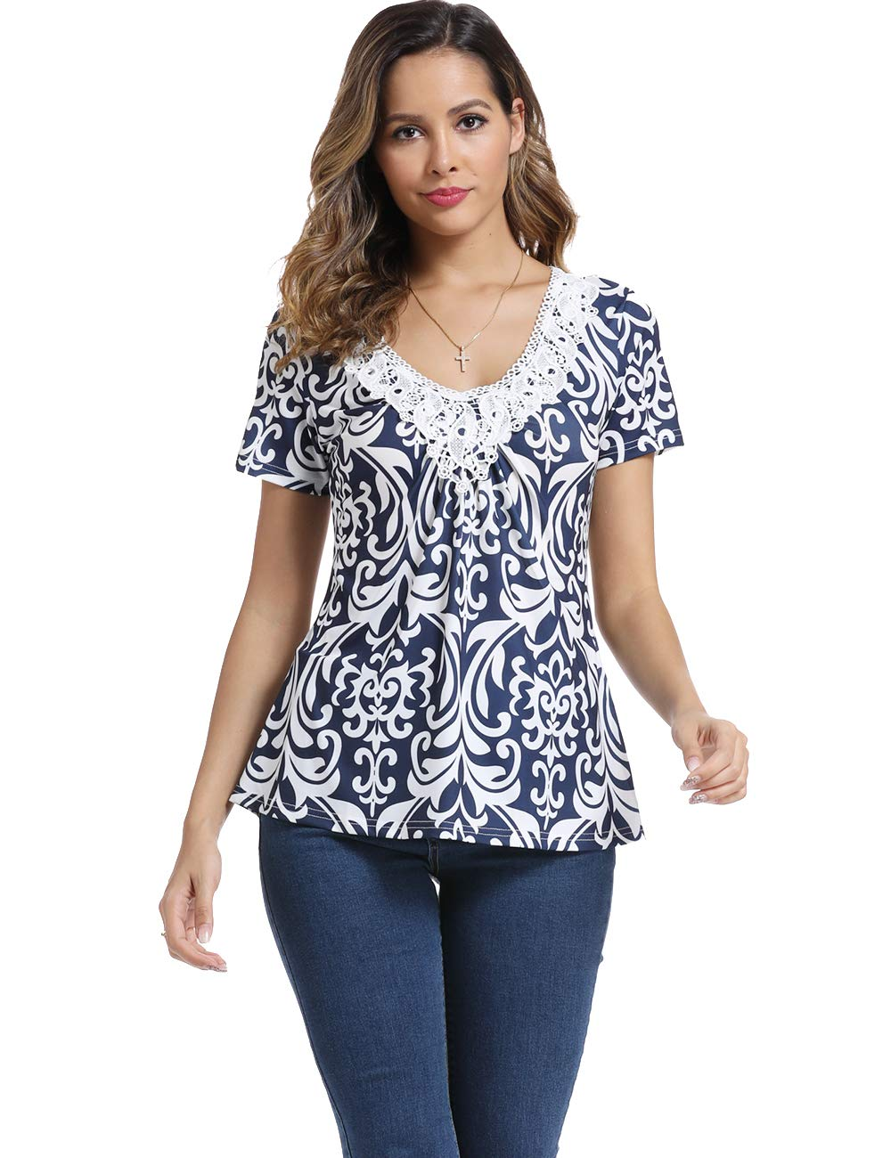 Women's Deep V-Neck Ruched Front Short Sleeve Ruffle Casual Tops Tunic Blouse Shirt (X-Small/US-2, Navy Blue) by MISS MOLY