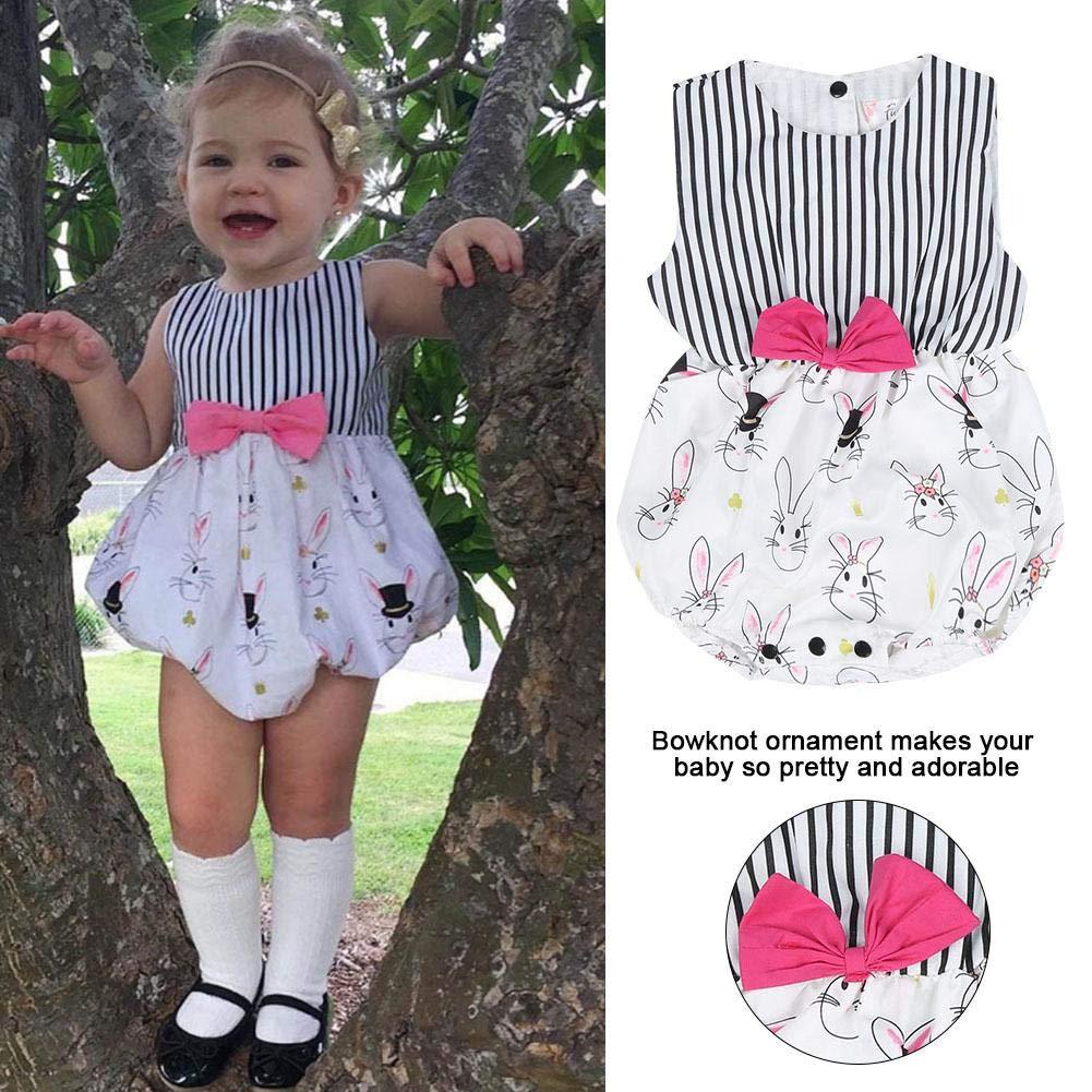 80 Baby Girls Skirt Fashionable O-Neck Dress Infants Kids Cute Stripe Rabbit Print Pattern Summer Sleeveless Skirt for 0-24 Months Baby