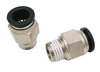 Plastic /& Nickel Plated Brass Push to Connect Straight Female Connector Fitting 1//4 OD x 3//8 NPT Female Pack of 5